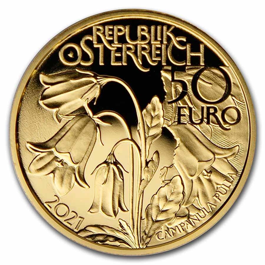 2021 Austria Proof Gold €50 Alpine Treasures (Alpine Forests)