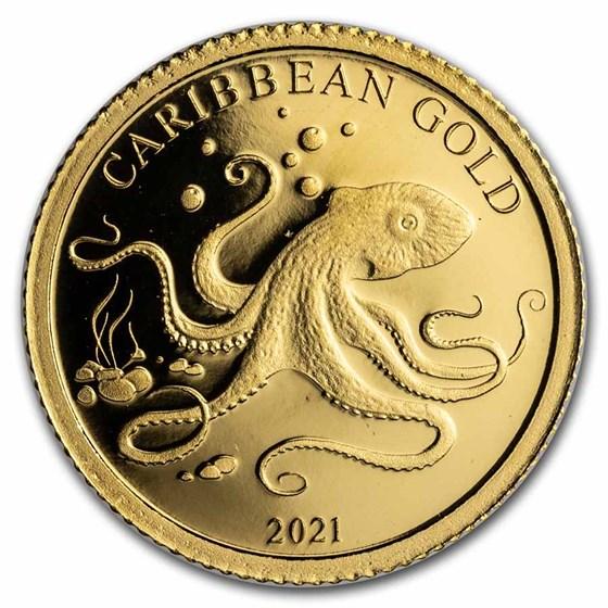 2021 Barbados 1/2 gram Gold Caribbean Octopus BU