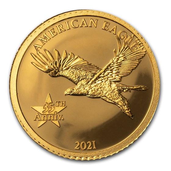 2021 Barbados 1/2 Gram Proof Gold 35th Anniversary American Eagle