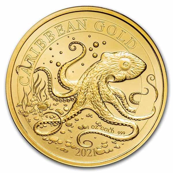 2021 Barbados 1 oz Gold Caribbean Octopus BU