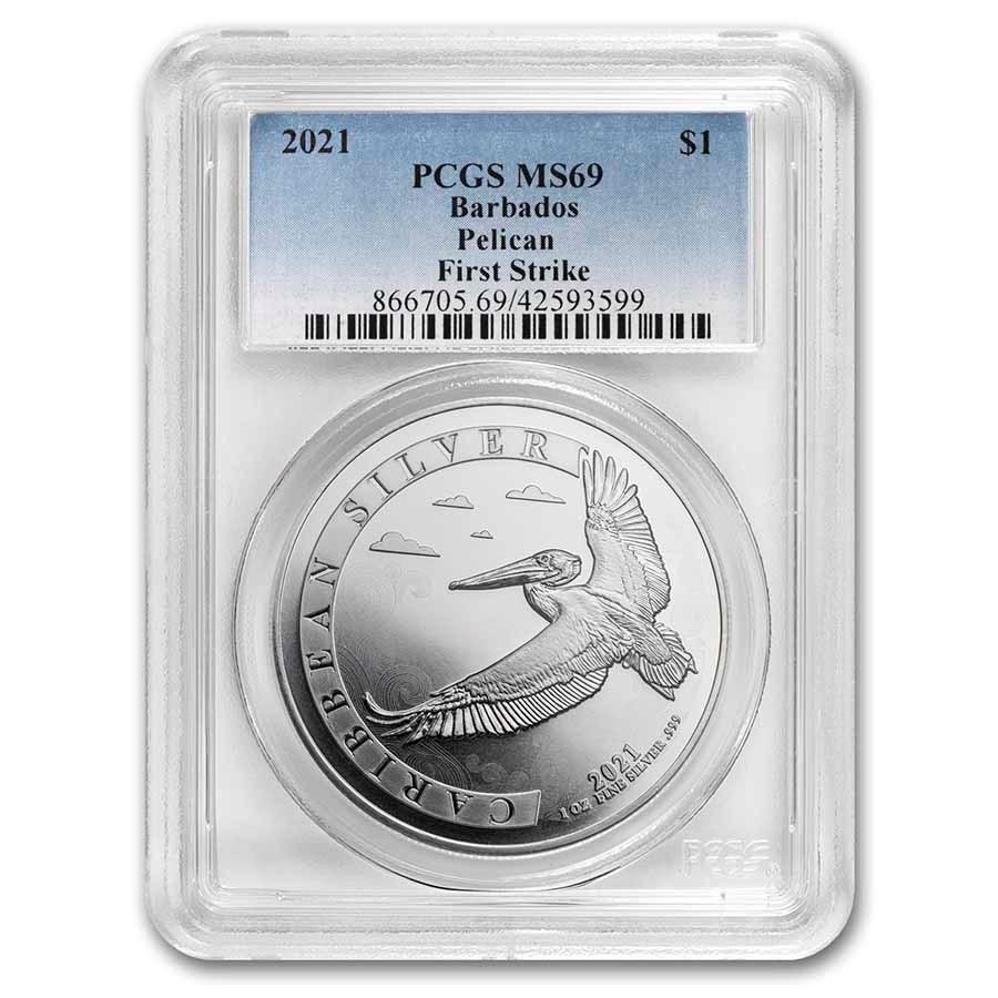 2021 Barbados 1 oz Silver Caribbean Pelican MS-69 PCGS (FS)