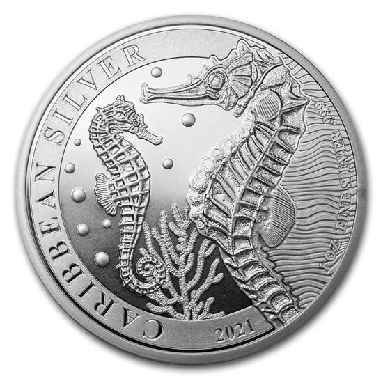 2021 Barbados 1 oz Silver Caribbean Seahorse BU