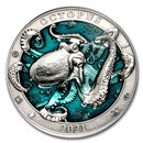 2021 Barbados 3 oz Silver Antique Underwater World (Octopus)