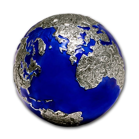 2021 Barbados 3 oz Silver Blue Marble at Night: Planet Earth