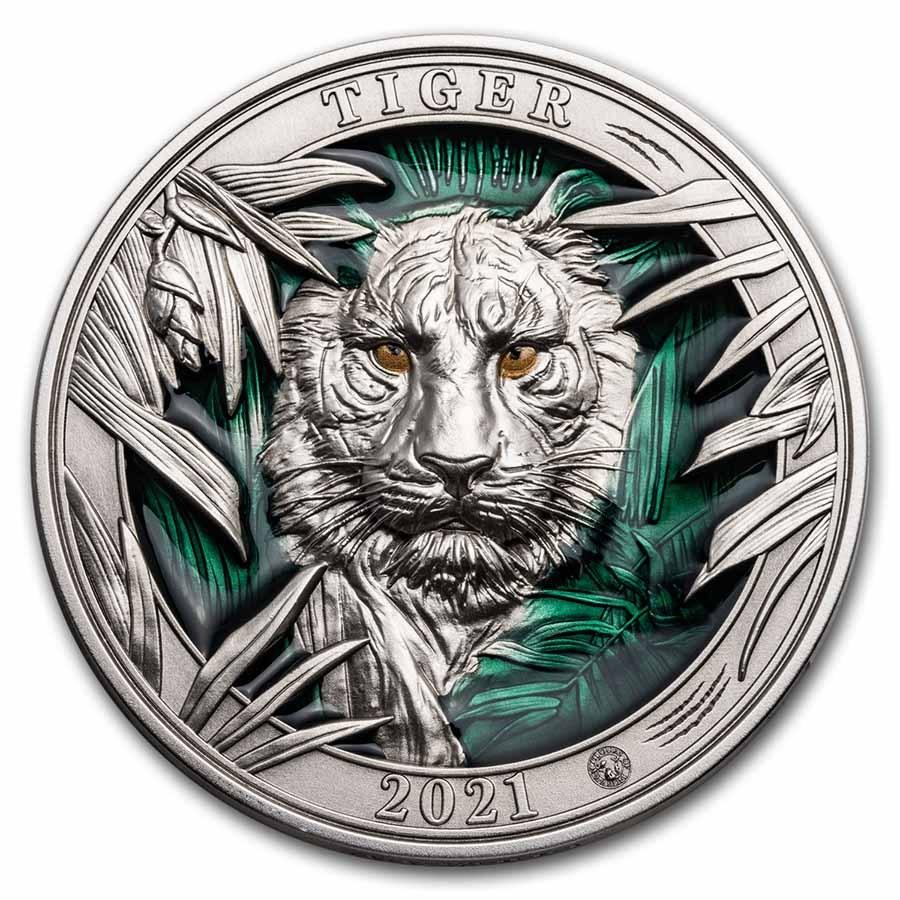 2021 Barbados 3 oz Silver Colors of Wildlife: Tiger