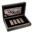 2021 Barbados 4 oz Silver Mount Rushmore 4-Coin Set