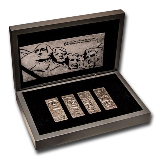 2021 Barbados 4 oz Silver Mount Rushmore 4-Coin Set