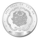 2021 Bhutan 1 oz Silver Lunar Ox BU