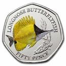 2021 BIOT Cupro-Nickel 50p Sea Creatures: Butterflyfish