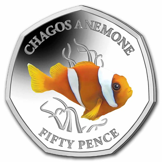 2021 BIOT Silver Proof 50p Sea Creatures: Clownfish
