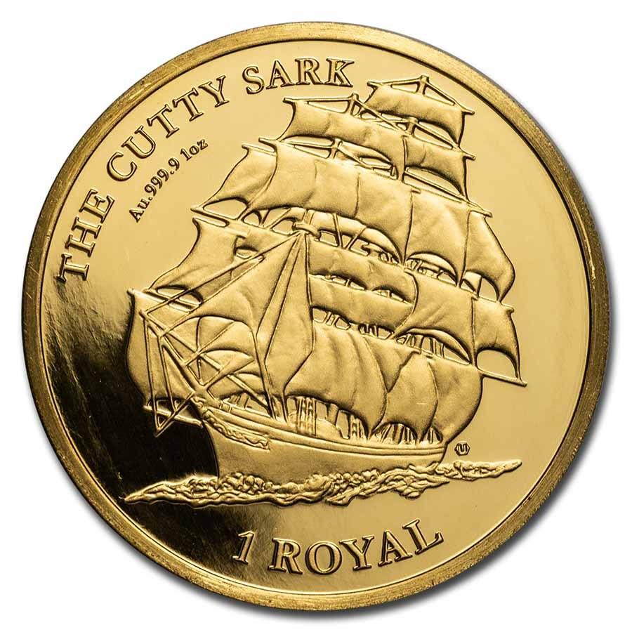 2021 British Indian Ocean Territory 1 oz Gold Cutty Sark Cameo BU