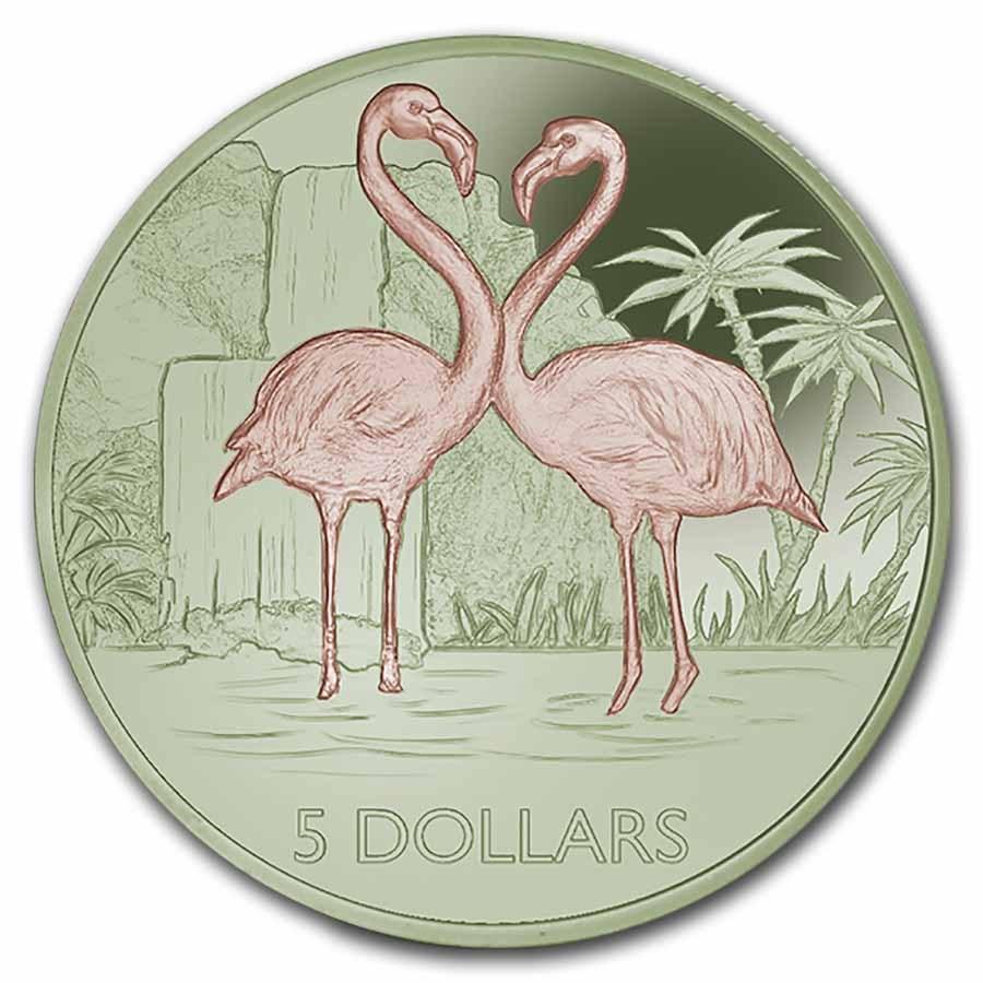 2021 British Virgin Islands Bi-Color Titanium $5 Flamingo Proof