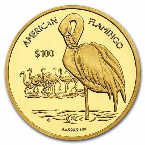2021 BVI 1 oz Gold Flamingo Cameo BU