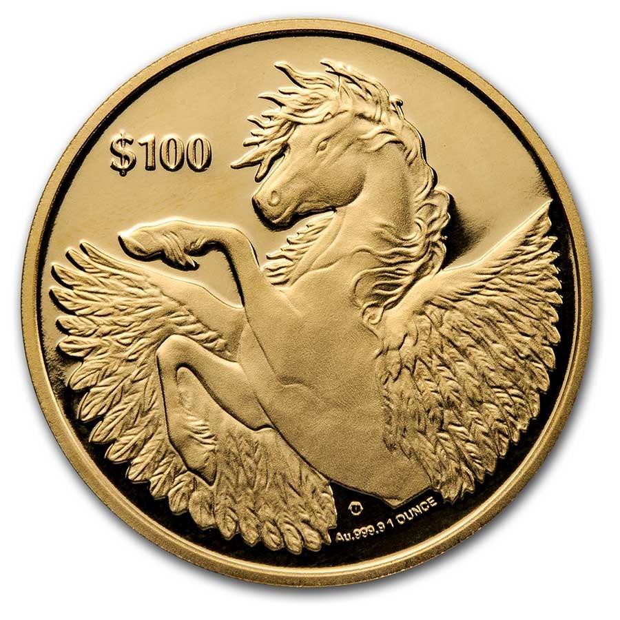 2021 BVI 1 oz Gold Pegasus Reverse Cameo BU