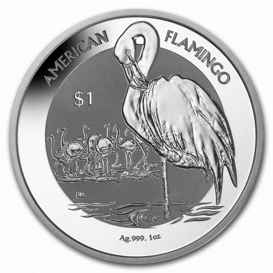 2021 BVI 1 oz Silver Flamingo Reverse Frosted BU