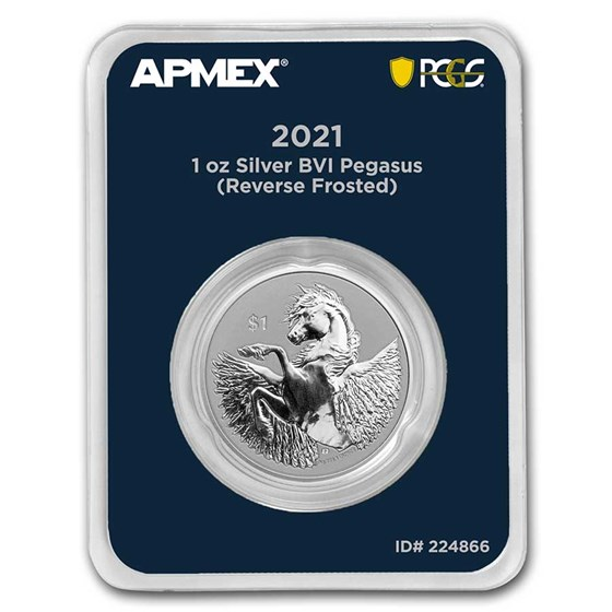 2021 BVI 1 oz Silver Pegasus Rev Cameo (MD® Premier + PCGS FS)