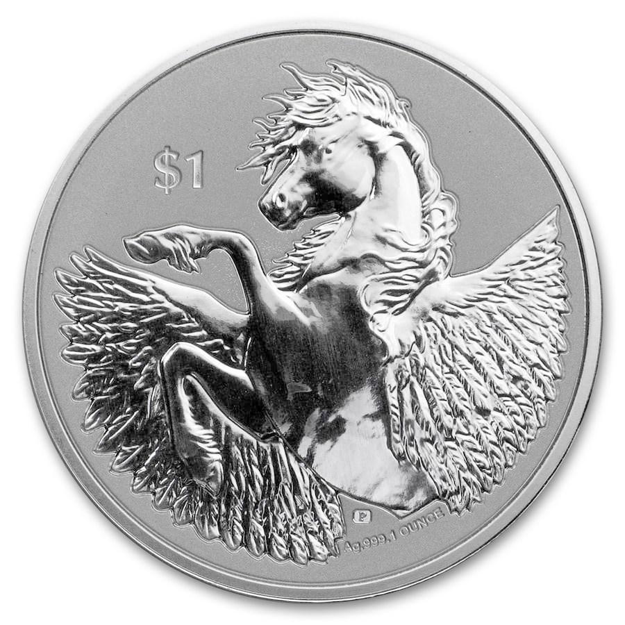 2021 BVI 1 oz Silver Pegasus Reverse Cameo BU
