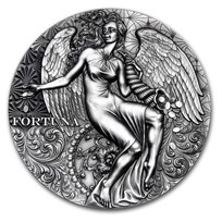 2021 Cameroon 2 oz Antique Silver Celestial Beauty (Fortuna)