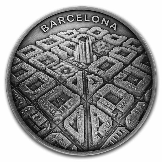 2021 Cameroon 2 oz Silver Barcelona from Drone's Eye View