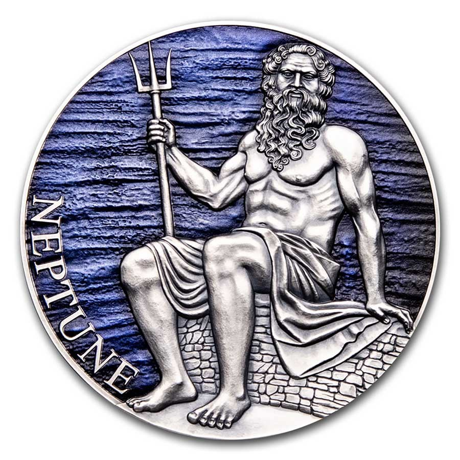 2021 Cameroon 3 oz Antique Silver Planets and Gods; Neptune