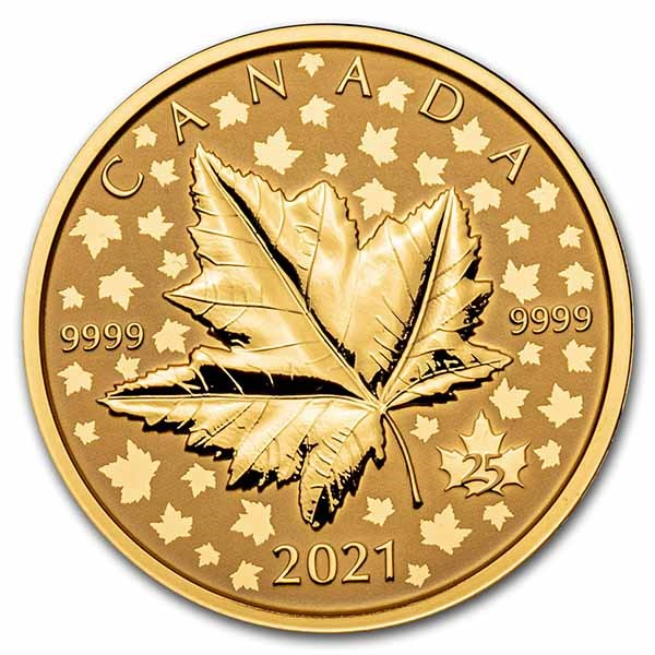 2021 Canada 1 oz Gold $200 Maple Leaf Celebration Piedfort