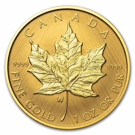 2021 Canada 1 oz Gold $50 Gold Maple Leaf W Mint Mark