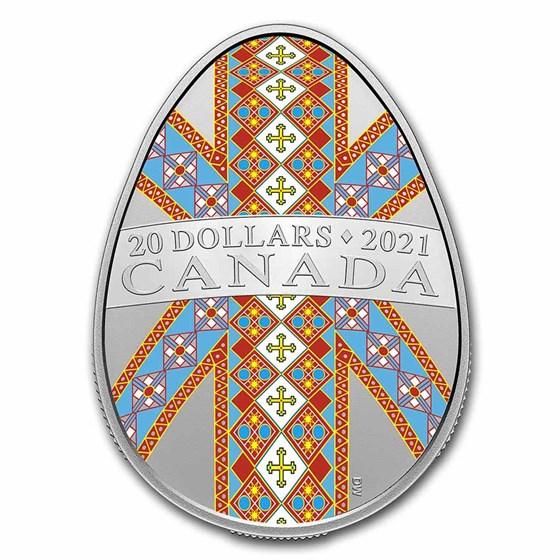 2021 Canada 1 oz Silver $20 Traditional Pysanka