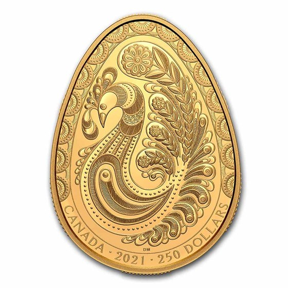 2021 Canada 2 oz Gold $250 Rooster Pysanka