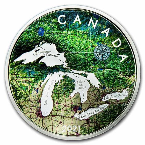 2021 Canada 5 oz Silver $50 Great Lakes Tribute