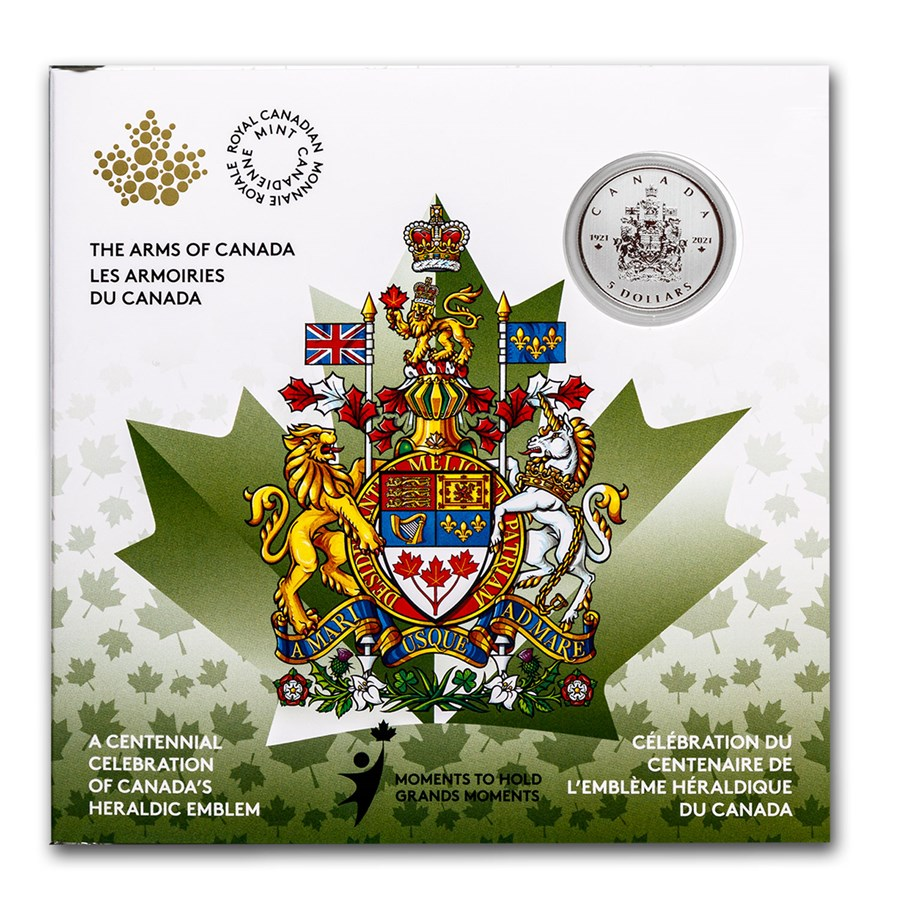2021 Canada $5 Silver Moments to Hold: Arms of Canada