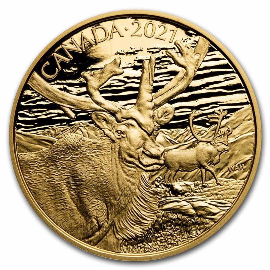 2021 Canada Proof Gold $350 Wildlife Portraits: The Caribou