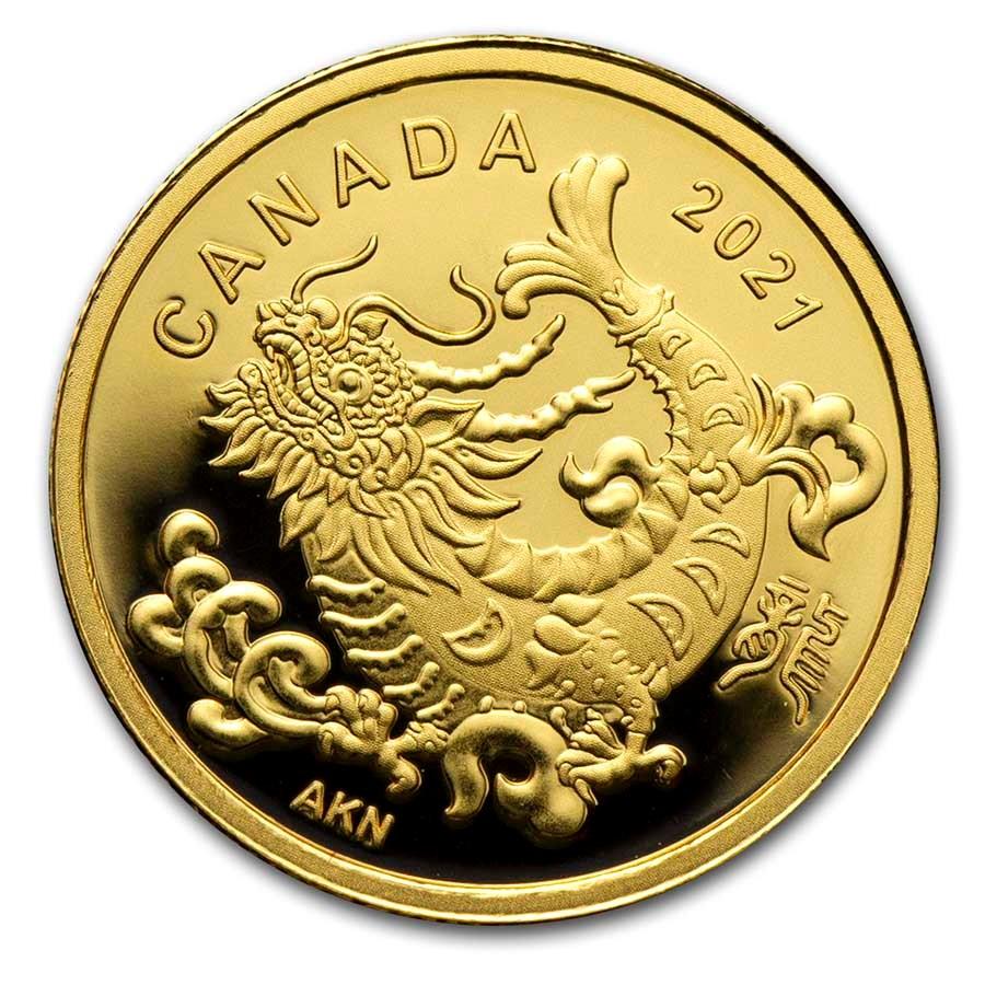 2021 Canada Proof Gold $8 Triumphant Dragon