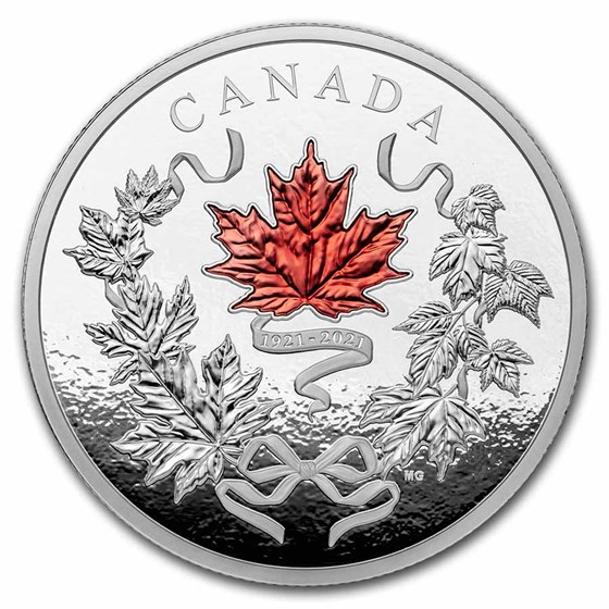 2021 Canada Silver 10 oz $100 Our National Colors