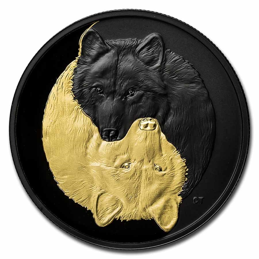 2021 Canada Silver $20 Black and Gold: The Grey Wolf