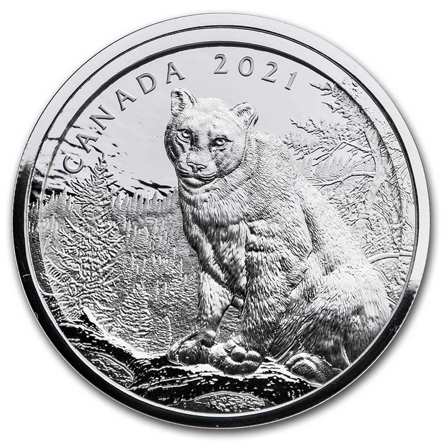2021 Canada Silver $50 Multilayered Cougar