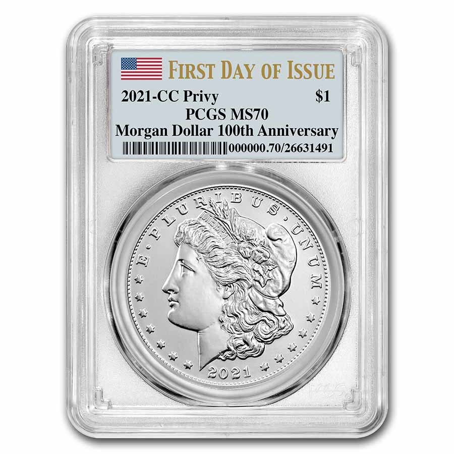 2021-(CC) Silver Morgan Dollar MS-70 PCGS (First Day of Issue)
