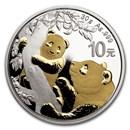 2021 China 30 gram Gold Gilded Silver Panda