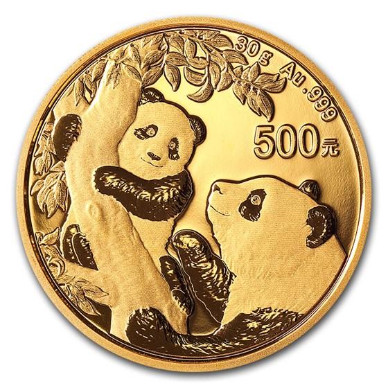 2021 China 30 gram Gold Panda BU (Sealed)