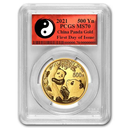 2021 China 30 gram Gold Panda MS-70 PCGS (FDI, Yin-Yang)