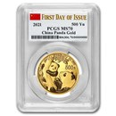 2021 China 30 Gram Gold Panda MS-70 PCGS (FDoI, Flag Label)