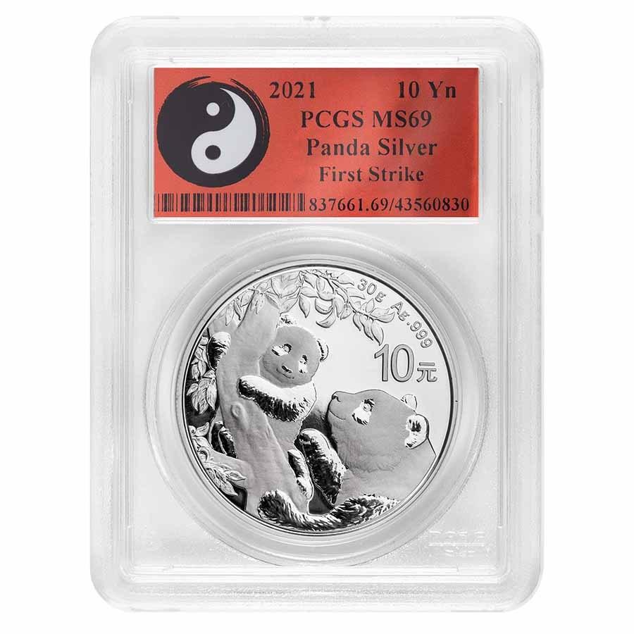 2021 China 30 gram Silver Panda MS-69 PCGS (FS, Yin-Yang)