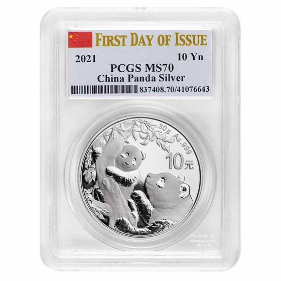 2021 China 30 gram Silver Panda MS-70 PCGS (FDI, Flag Label)