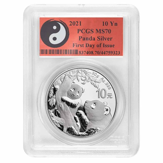 2021 China 30 gram Silver Panda MS-70 PCGS (FDI, Yin-Yang)
