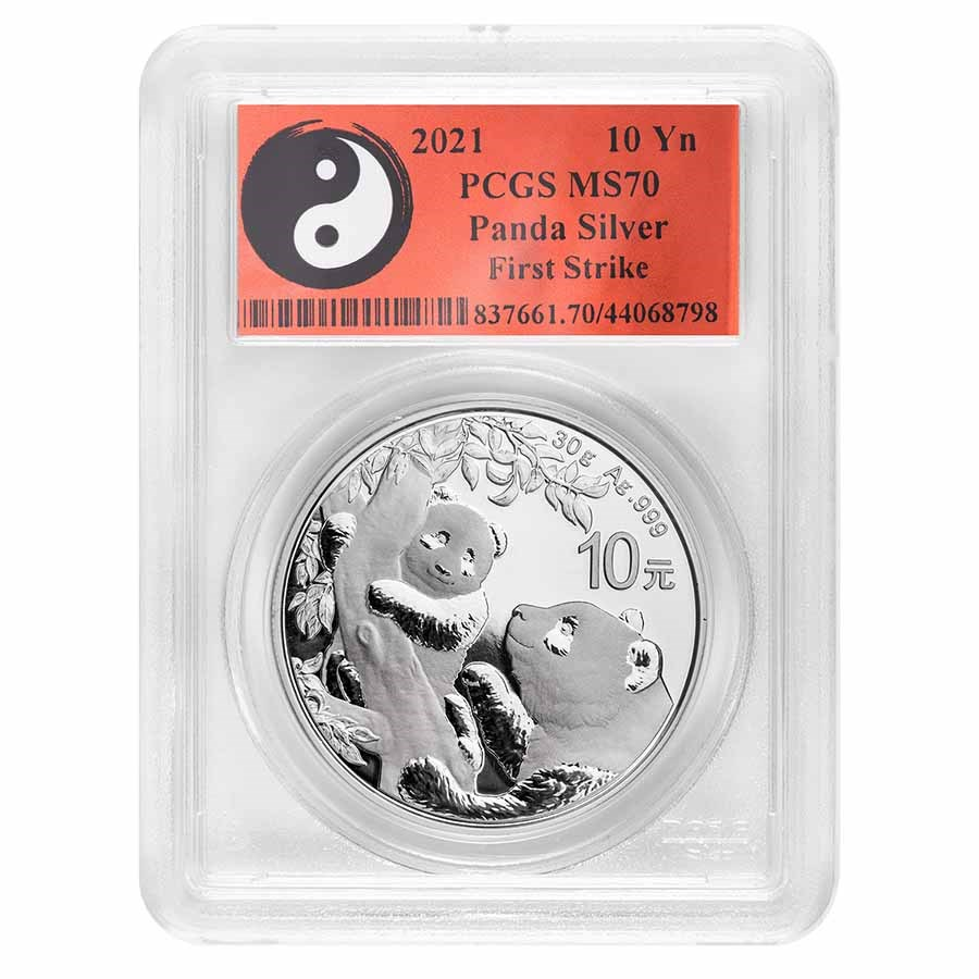 2021 China 30 gram Silver Panda MS-70 PCGS (FS, Yin-Yang)