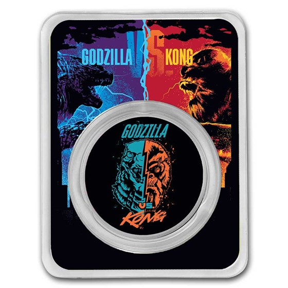 2021 Colorized 1 oz Silver Godzilla Vs. Kong Face-Off (w/ TEP)
