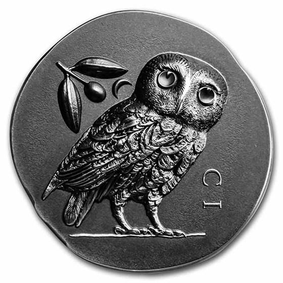 2021 Cook Islands 1 oz Silver Antique Athena's Owl
