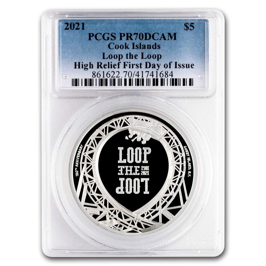 2021 Cook Islands 1 oz Silver Loop The Loop PR-70 PCGS (FDI)