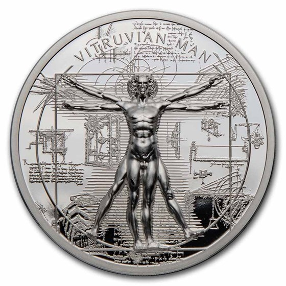 2021 Cook Islands 1 oz Silver X-Ray: Vitruvian Man