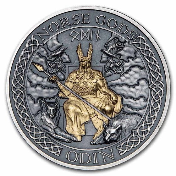 2021 Cook Islands 2 oz Silver High Relief Norse Gods: Odin
