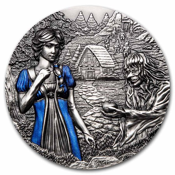 2021 Cook Islands 3 oz Silver Fairy Tales: Snow White